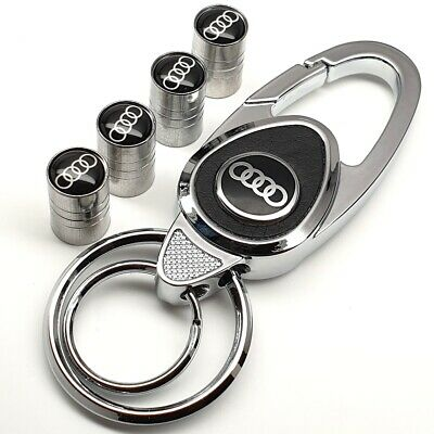 Audi Keyring + Set Of Tyre Valve Dust Caps With Box, Gift For Him Her Dad Wife