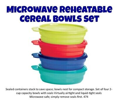 Tupperware MICROWAVEABLE REHEATABLE CEREAL BOWLS Set/4