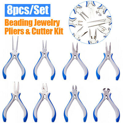 AU 8pc Jewellery Making Pliers Flat Nose Bent Nose Side End Cutter Beading Tools