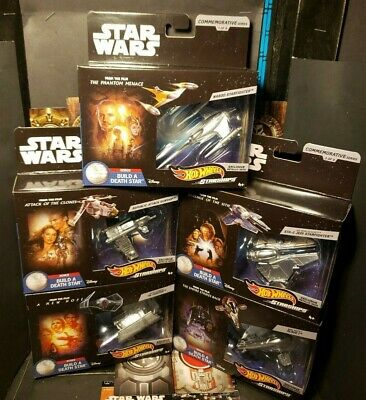 Star Wars Hot Wheels COMMEMORATIVE WAVE 1 EPISODES 1-5 build a death star MIMB