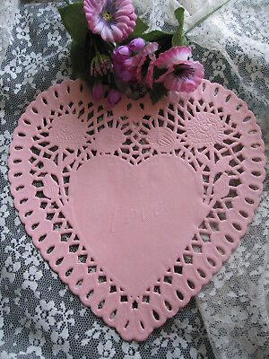 "6 PCS vtg 8"" INCH LACE HEART PALE PINK PAPER ROSE DOILY CRAFT romantic love card"