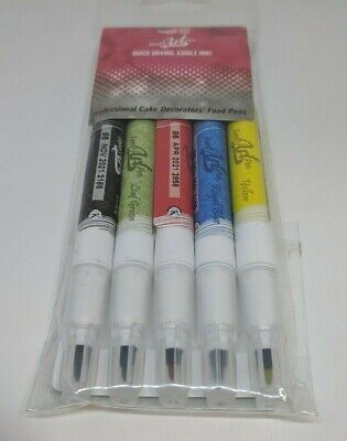 Professional Cake Decorating Edible Ink Food Pens 5 pk Double Tip Rainbow Dust