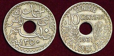 TUNISIA Tunisie french protectorate 10 centimes 1931 (1350) Ahmed Bey