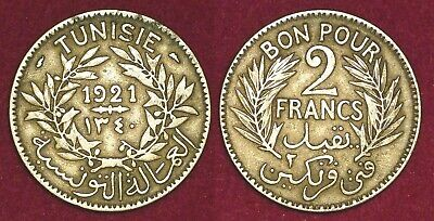 TUNISIA Tunisie french protectorate 2 francs 1921 (1345)  تونس