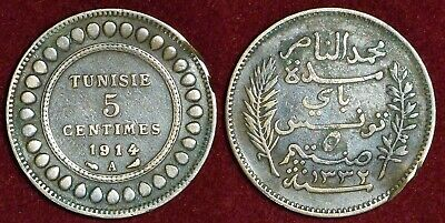 TUNISIA Tunisie french protectorate 5 centimes 1914 (1332) Muhammad al-Nasir