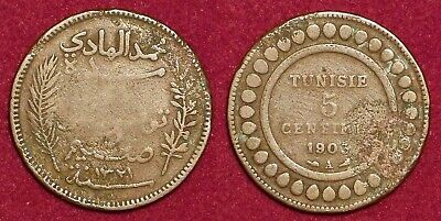 TUNISIA Tunisie french protectorate 5 centimes 1903 (1321) Muhammad al-Hadi
