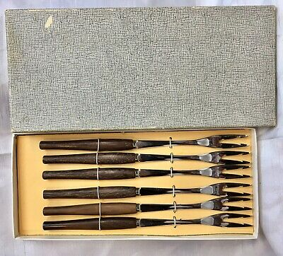 Beautiful Set Mid-century Forks Vintage Hors D`oeuvres Canapes Fruit Japan