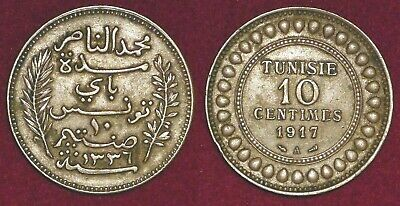 TUNISIA Tunisie french protectorate 10 centimes 1917 (1336) Muhammad al-Nasir
