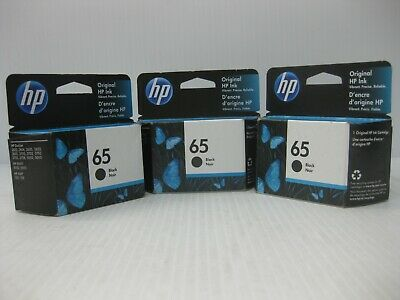HP 65 Ink Black Genuine New * LOT OF 3 ** SHIPS OVERBOXED * Date: February 2021