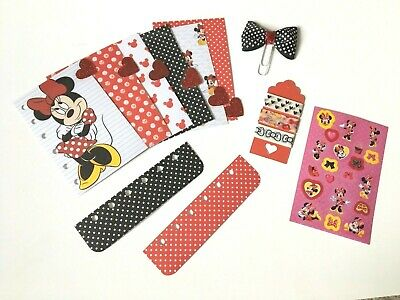 Filofax Planner Dividers  x 6 POCKET Organiser + Extras!! - Mini Mouse Heart Tab