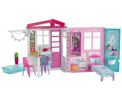 Mattel Barbie Doll House Playset Glam Getaway On The Go Furniture Play House New