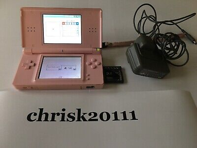 Pink Nintendo DS Lite Handheld Game Console Bundle With Games And Charger