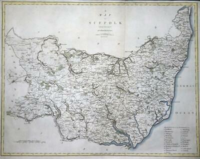 1805 - Large Original Antique Map of SUFFOLK by John Cary Colour (LM4)