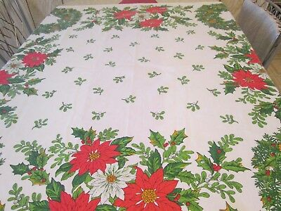 """Vintage Christmas Table Cloth """"Ryan"""" Cotton Blend 48"""" by 50"""" Wreaths"""