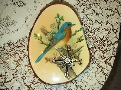 Vintage Nice Lacquered Working Wooden Log Sliced  Wall Clock - Blue Bird