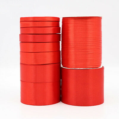 Brand New Red Satin Ribbon Reels Double Sided Faced 0.6-5cm Widths 25 Yards/roll