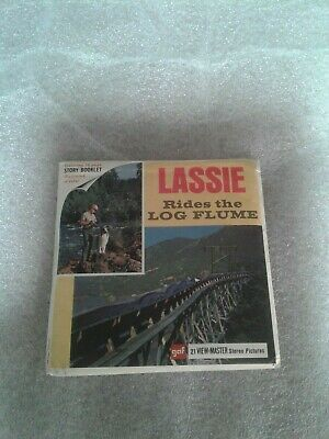 "Vintage 1968 Viewmaster 3 Reel Packet....""Lassie Rides the Log Flume""  gaf"