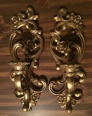 """Pair Wall Candle Sconces Gold Ornate Syroco Homco Vintage Hollywood Regency 15"""""""