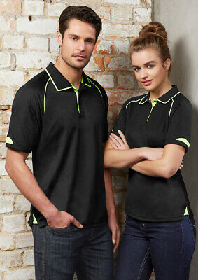 Biz Collection Mens Fusion Cotton Backed Polo Quick Dry Ribbed Collar Side Split