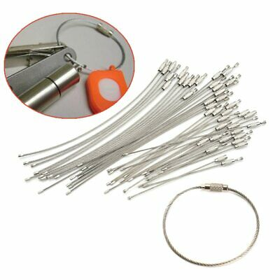 10Pcs 1.5/2mm EDC Keychain Tag Rope Stainless Steel Wire Cable Loop Screw Lock