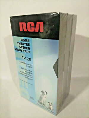 3 RCA T-120 VHS Tapes, Brand New Sealed, Up To 6 Hours Recording Time Per Tape