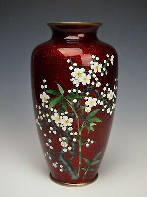 EXQUISITE ANDO CLOISONNE VASE Museum Quality Antique Japanese Tomeiyu Shippo