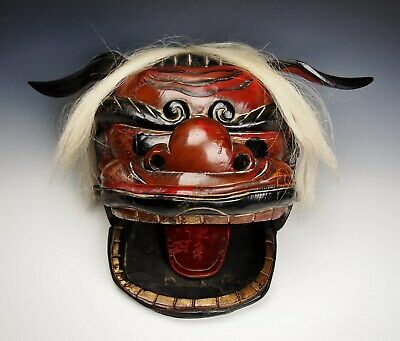 SPECTACULAR ANTIQUE JAPANESE SHISHI Gashira MASK Edo Meiji Lacquer Lion Dance