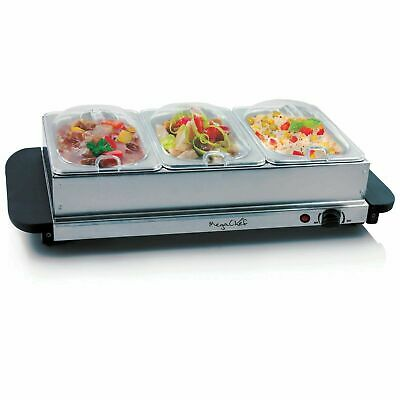 Buffet Server and Food Warmer with 3 Sectional Trays by MegaChef