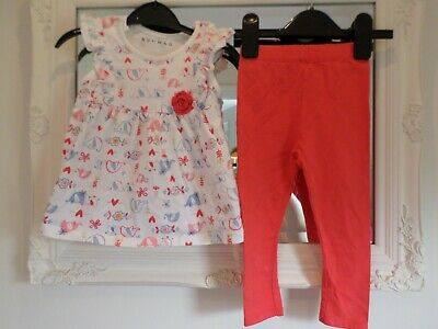 Nutmeg George Baby Girls Top & Leggings Outfit Age 12-18 Months Elephant