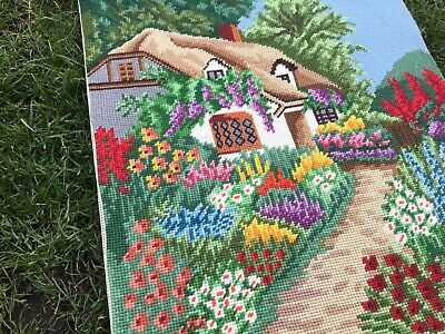 Large Vintage Tapestry Embroidered  Picture Country Cottage Garden Hand Stitch