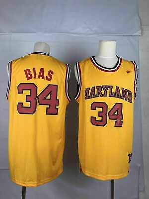 best loved 9c7de 4e8fa LEN BIAS 34 Maryland Terrapins Jersey Yellow Basketball ...