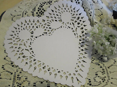 "vtg 8"" INCH LACE HEART WHITE PAPER ROSE DOILY CRAFT 6 PCS romantic love cards"