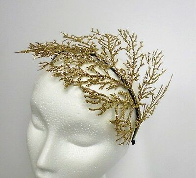Gold Fascinator leaf Headpiece hat Wedding Ladies Day Ascot races Garden party
