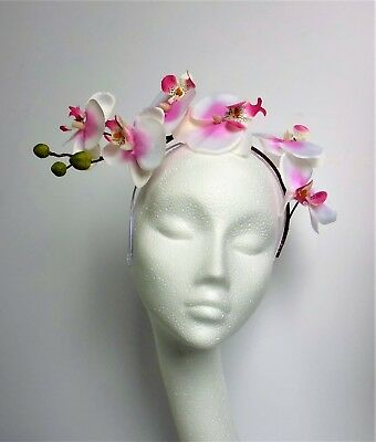 White Pink Orchid Flower Fascinator hat Headpiece Wedding Ascot Races Ladies Day