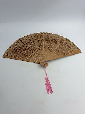 Vintage Chinese Bamboo Hand Crafted Folding Fan Hand Painted Cranes Birds Boxed