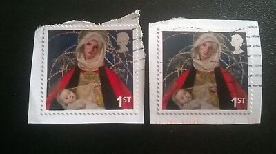 2 Gb Error/Variety Used 1St Commemorative Xmas 2005 Sg2583 Stamps Pink Shift Top