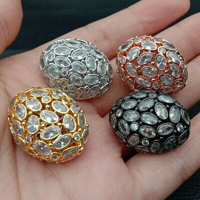 1pc 20x26mm gold plated Cz micro pave hollow Oval loose beads for jewelry making