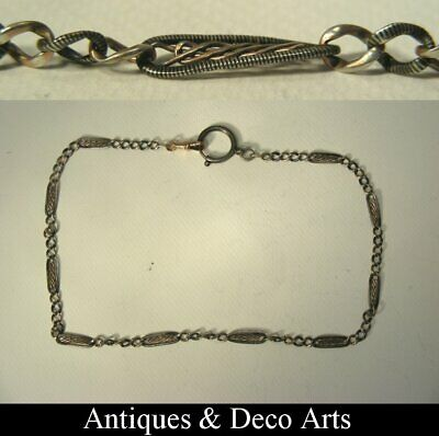 Antique French Silver & Niello Enamel Albert Chain or Watch-chain