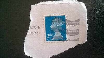 1 x GB USED BLUE 2ND CLASS MACHIN SECURITY 2011 STAMP - M11L  MBIL 2012 POSTMARK