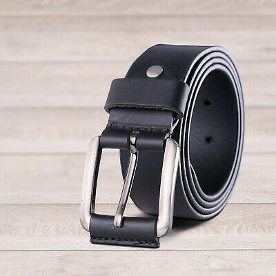 Leather Mens Belt Belts Real New Genuine Buckle Trouser Brown Black Tan Jeans