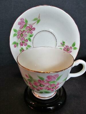 Delphine English Bone China Teacup & Saucer Pink Hand Painted Flowers Kt5468D