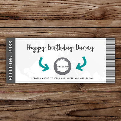 *PERSONALISED* SURPRISE holiday BIRTHDAY gift TRAVEL SCRATCH CARD BOARDING PASS