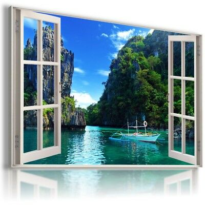 BAY RIVER BOATS NIGHT 3D Window View Canvas Wall Art Picture W617 MATAGA