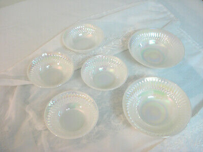 Vintage 1960s Federal Glass MOONGLOW Lot 4 Berry Bowls & 2 Soup or Cereal Bowls