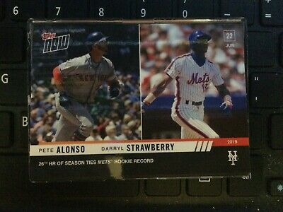 2019 Topps Now Pete Alonso/Darryl Strawberry #418 26th HR Ties Mets Record
