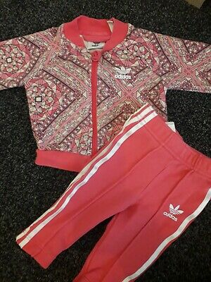 d3e3010f Baby Girl Adidas Pink Tracksuit bottoms jacket 3-6 Months graphic design  (A14)