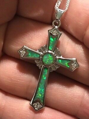 Long Celtic Cross Kiwi Green Fire Opal 925 Stamped Silver SF Pendant Necklace