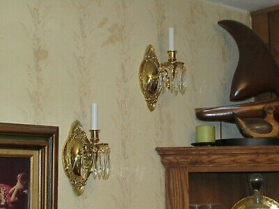 2 Solid Brass Sconces Exc Cond. One Light Ea. Crystals Exc Wiring Bright Uniform