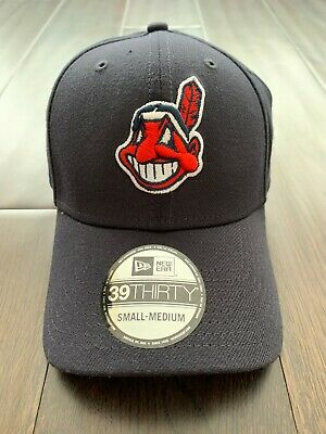 NEW ERA CLEVELAND Indians MLB Fitted Hat Cap All (NAVY)/Red Chief