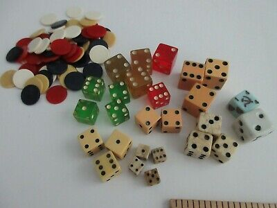 antique,vintage,dice,bakelite,bone,glass,?,with a huge lot of tiny game chips